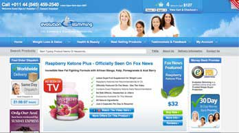 Evolution SLimming raspberry Ketone website
