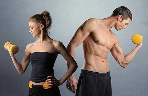 Man and woman working out